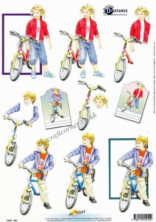 Boy & Girl With Their Bikes 3d Decoupage Sheet
